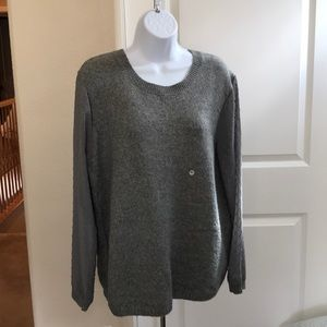 G H Bass Gray Sweater w/Sheer Dotted Swiss Sleeves